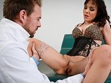 Slutty brunette Cytherea squirts while riding doctors big-cock